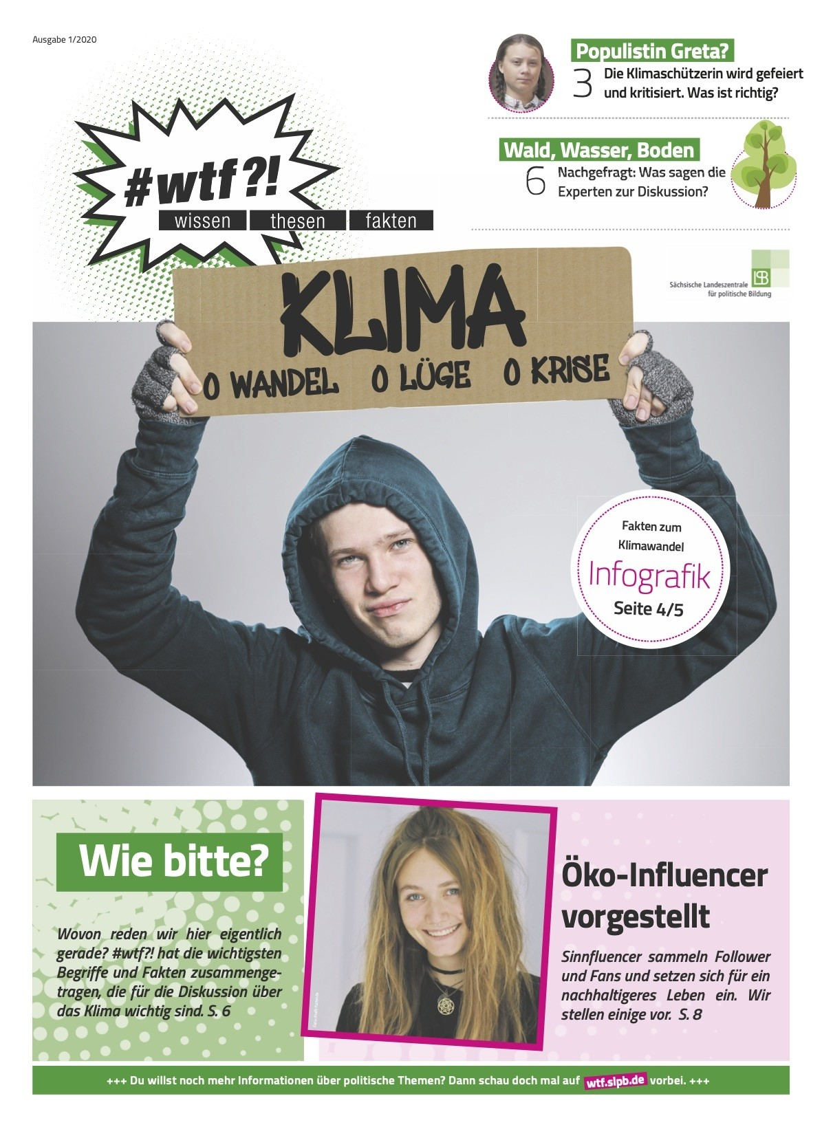"Titelseite 1123 wtf-Magazin 12 (Ausgabe 1/2020) ""Klima - Wandel, Lüge, Krise"""