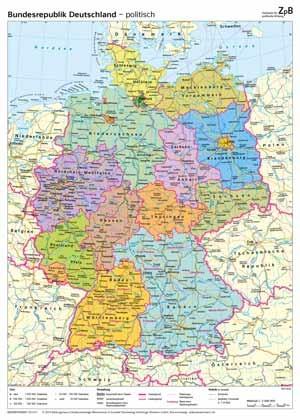 politische deutschland karte 401 Deutschlandkarte (physisch/politisch)