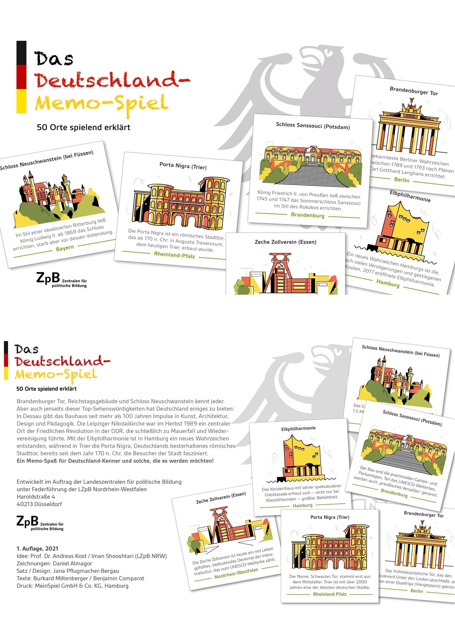 Vorder- und Rückseite groß 500* Deutschland-Memo-Spiel. 50 Orte spielend erklärt
